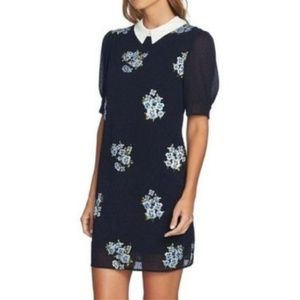NWT CECE Sz4 Floral Embroidered Collared Dress
